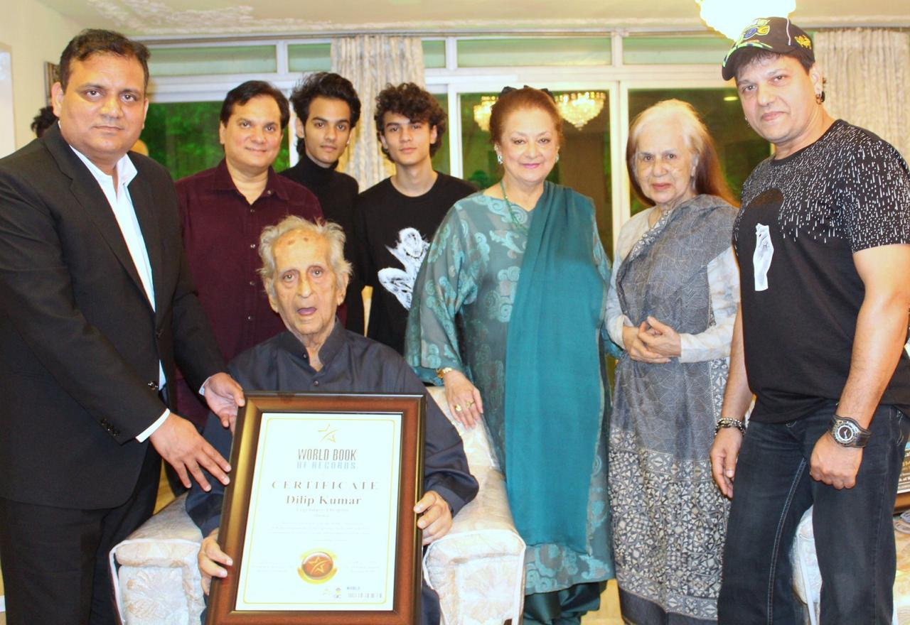 Padma Vibhushan Dilip Kumar felicitated by World Book of Records on his 97th Birthday.